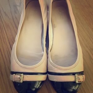 Cole Haan tan/cream and black ballet flats